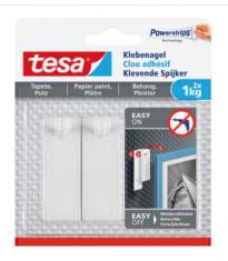 Tesa® Klevende Spijker voor behang & pleisterwerk 2x 1kg