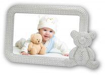Verzilverde Fotokader Baby Ornella met beer